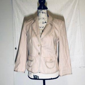 New Express pink & white stripe blazer jacket